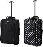 """Set of 2 21""""/55cm 5 Cities Cabin Approved Hand Luggage Lightweight Trolley Bags for Ryanair/Easyjet"""