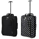 Set mit 2 Superleichtgewicht Cabin Approved Gepäck Travel Wheely Suitcase Radfahrtaschen Taschen (BLK + BLK POLKA DOTS)