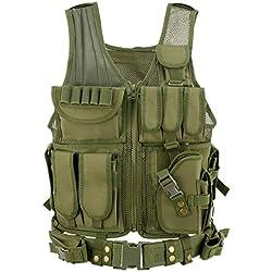 Gonex Gilet Tactique Militaire Gilet de Combat Veste Extérieure pour Airsoft Jeu CS Militaire Cosplay Olive