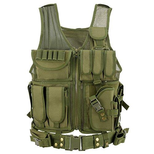 Gonex - Chaleco militar táctico de combate negro, Vert foncé-Olive