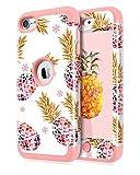 Dailylux iPod Touch 7 Coque,iPod Touch 6 Coque,iPod Touch 5 Coque Silicone Resistant aux Chocs Anti-Impact Housse Etui de Protection pour Apple iPod Touch 5/6/7-Ananas coloré