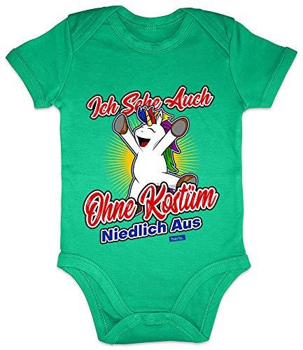 HARIZ Baby Body Kurzarm Ich Sehe Auch Ohne Kostüm Niedlich Aus Einhorn Karneval Verkleidung Plus Geschenkkarte Frosch Quietsch Grün 3-6 Monate