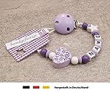 Baby SCHNULLERKETTE mit NAMEN | Schnullerhalter mit Wunschnamen - Mädchen Motiv Herz Ornament in flieder