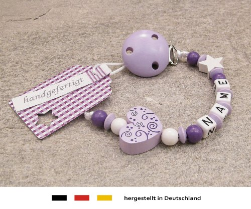 Baby SCHNULLERKETTE mit NAMEN   Schnullerhalter mit Wunschnamen - Mädchen Motiv Herz Ornament in flieder