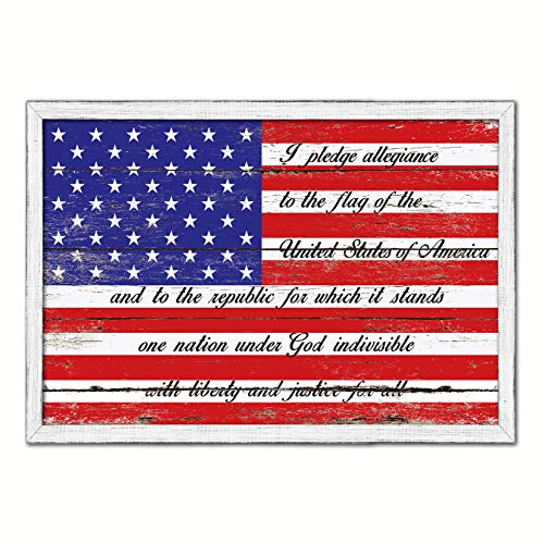 The Pledge of Allegiance American Flagge White Washed Holzrahmen Landhaus Shabby Chic Geschenke Home Decor Wall Art Antik 13