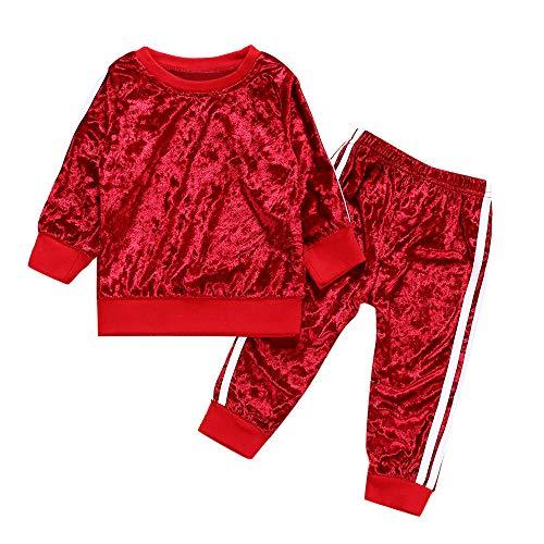 Kobay Kleinkind Kinder Baby Mädchen Jungen Langarm Solide Tops + Hosen Outfits Set Kleidung(2-3T,Rot) -