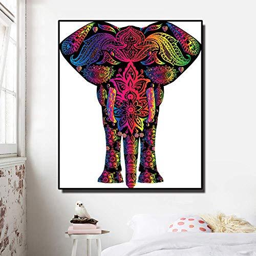 JIEELAP Cuadro en Lienzo Pintura Religiosa de Elefante para Sala de Estar Imágenes Modernas de Animales Arte de la Pared...