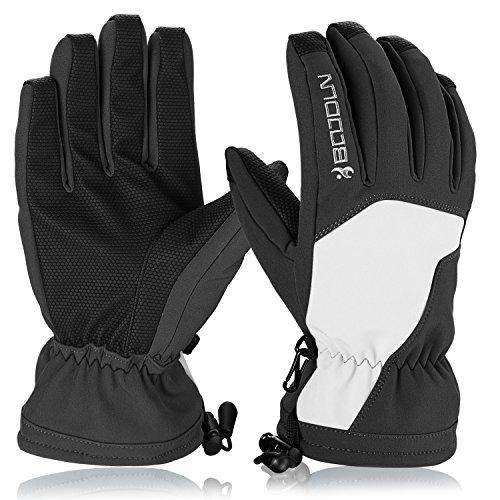 Skihandschuhe, HiCool Ski-/Snowboard-Handschuhe Sporthandschuhe Winterbekleidung Thermohandschuhe für Herren Damen (Weiß/Schwarz, L)
