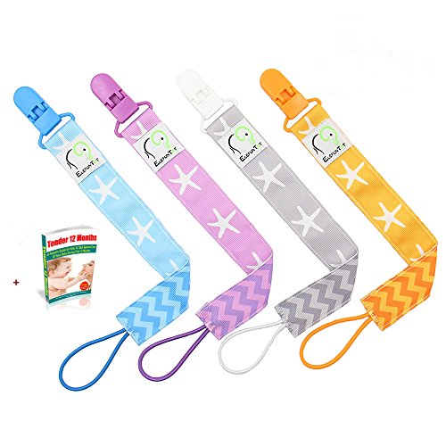 new-pacifier-clip-holders-cool-set-of-4-boxed-unisex-universal-binky-leash-2-sided-design-plastic-te