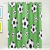 TIZORAX Fußball grün Vorhänge Verdunkeln zur Wärmedämmung Fenster Panel Drapes für Home Dekoration 213,4x 139,7cm Set von 2Panels