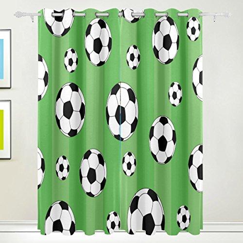 Tizorax calcio verde tenda oscurante. pannello della finestra tende oscuranti per la decorazione domestica 213,4x 139,7cm set di 2pannelli