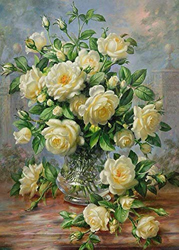 5D DIY Diamond Painting Cross Stitch, Decoration of House Living Room,White flowers