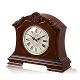 NNIU Massivholz Tischuhr, Retro Non-Ticking Dekoration Kaminuhr Wohnzimmer Nachttisch Uhr