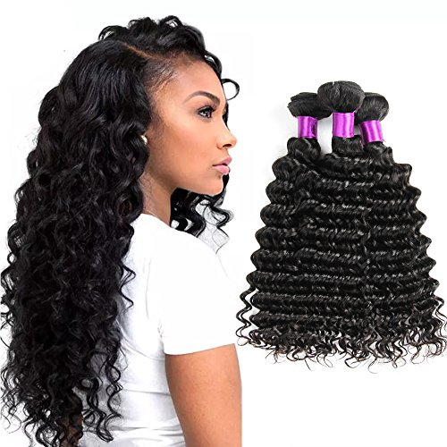 Brazilian deep wave curly virgin hair weave bundles unprocessed remy extension capelli per donne nere – colore nero naturale