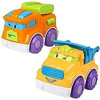 Peradix Set 2 Macchinine per Bambini Camion Mezzi Trasporto Gioco Prima Infanzia (grande, 2 pezzi)