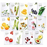 Nature Republic Real Nature Mask Sheet (14 type), Nature made Freshly packed Korean Face Mask, Natural Plant Extract (Pack of 14) [RENEWAL]