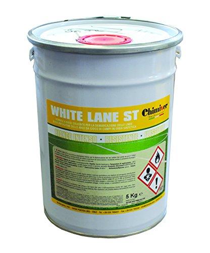 Chimiver - WHITE LANE ST | Vernice a base solvente per la demarcazione delle linee di delimitazionedelle aree da gioco di campi in erba sintetica. 5KG.