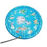 Finebuying Splash Pad, Sprinkler Play Matte, 59 Zoll Sommer Garten Wasserspielzeug Kinder Baby Pool Pad Splash Spielmatte Sprinkler und Splash Play Matte für Baby, Kinder, Hund und Haustiere (Blau)