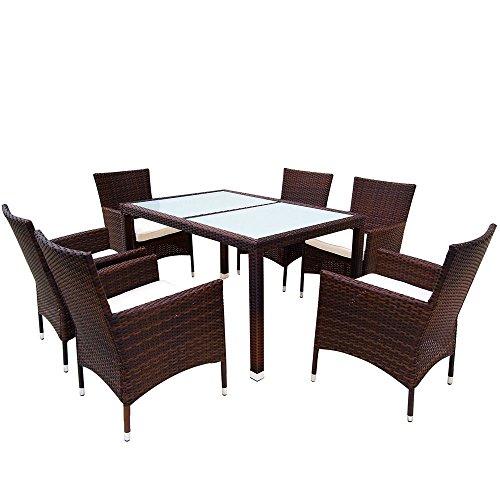 MIADOMODO Elegante 6+1 Polyrattan Aluminium Sitzgarnitur Rattan Gartenmöbel Set in der Farbe Ihrer Wahl inkl. Kissen und 2 Glasplatten in Schwarz oder Milchweiß (Milchweiß,