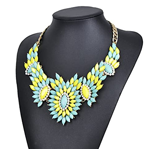 L / C.Exaggerated Alloy Multi Layer Diamond Studded Flower Necklace Chain,Green-OneSize