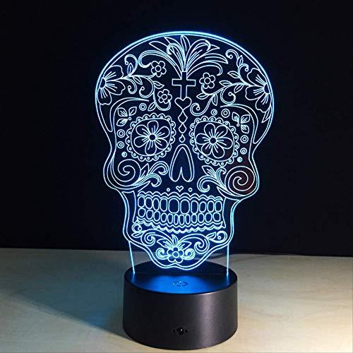 ugar Skull Light USB / 7Farbwechsel LED Schreibtischlampe Tischleuchte mit Touch-Taste Home Decor Neben Lampe ()