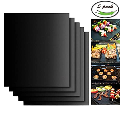 BBQ Non Stick Grill Mat Set of 5- Heavy Duty Non Stick Grill Accessories Tool for Home Cook Electric Gas Grill and more,16 X 13 inch (5)