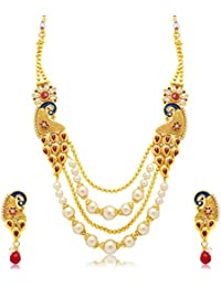 Sukkhi Marquise Peacock 4 String Gold Plated Long Haram Necklace Set For Women