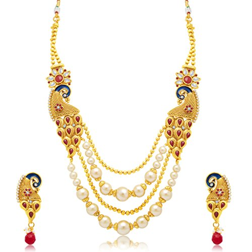 1364ebf2f8 Sukkhi Marquise Peacock 4 String Gold Plated Long Haram Necklace Set For  Women