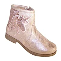 The Sparkle Club Girls Pink Sparkly Unicorn Western Ankle Boots