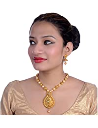 Lucky Jewellery Elegant Golden Color Gold Plated Necklace Set For Girls & Women
