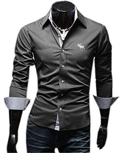 Haroty Uomo Camicie Moda Casual Slim Fit Maniche Lunghe Men Shirts Fashion Personalizzate Colore Solido Formale e Business Grigio