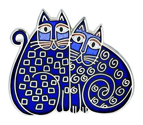 laurel-burch-bolso-azul-indigo-gatos-cloisonne-broche-en-plata
