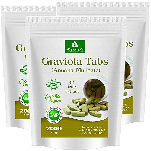Graviola Tabletten 360 x 2000mg Fruchtextrakt 4:1 Vegan, Qualitätsprodukt von MoriVeda – Sauersack Annona Muricata (3x120 Tabs)