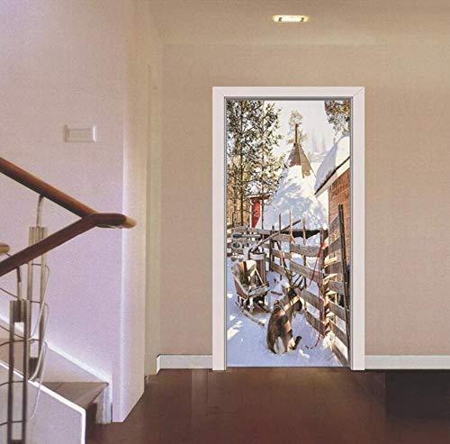 ee Blockhaus Weihnachtsthema Wand Tür Aufkleber Baby Mädchen Zimmer Tür Aufkleber Dekor Tapeten ()