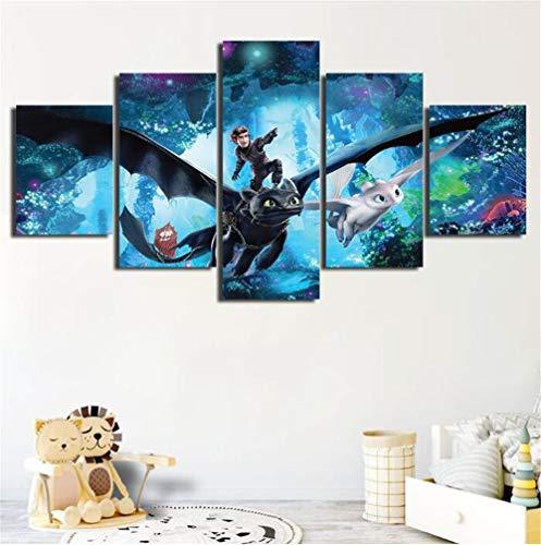 LCCWLH Leinwanddrucke 5 Stück Wie Sie Ihren Drachen Trainieren Hd Drucken Wandkunst Leinwand Gemälde Home Decoration Poster (Größe_A) Mit Rahmen (Trainieren Behandeln Und)