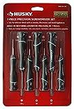 Husky 67123H Juego de destornilladores de precisión de 7 piezas para joyería y electrónica con tapa giratoria y manijas ergonómicas de material compuesto