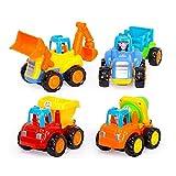 Vehículos de Construcción Plastico Mini Juguetes Set de Camiones Coches para Niños Niñas Chicos Chicas (4 Pedazos)