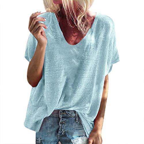 Zegeey Damen T-Shirt Oberteil Kurzarm V-Ausschnitt Einfarbig LäSsige Lose Sommer Bluse Shirt Pullover Tops (Hellblau,EU-42/CN-2XL)