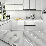 [4 Rollen] KINLO 61cm x 5m Hochglanz Selbstklebend Küchenschrank-Aufkleber Küchenfolie Refurbished Küchenschränke Kleiderschrank PVC Aufkleber Folie Möbel Schrank Tür Papier für Wandplakate - Grau