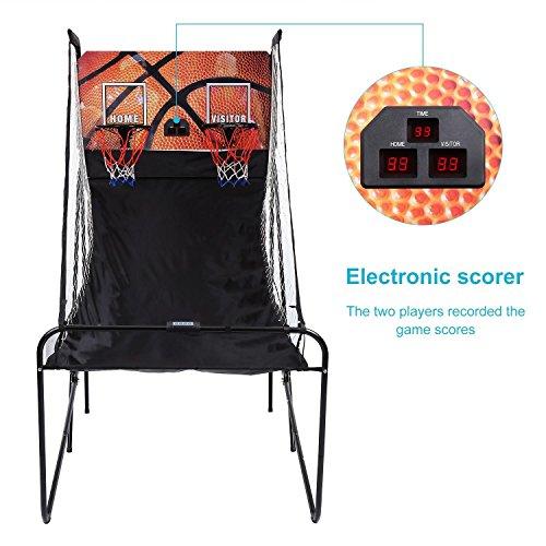 Flabor faltbar Basketballkorb mit 5 Basketbällen und Infrarotsensoren Basketball Doppelteschuss Arcade System für Kinder und Erwachsene Basketballständer (Elektronische Basketball-arcade)