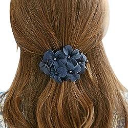 Culater® 1 Stück Frauen Dame schick glänzend Blume Spange Haarspange Kopfschmuck blau