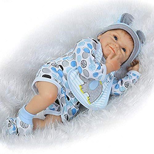 Rocking Horse Silicone Reborn Baby Doll,Newborn Lifelike Boy Dolls,Cute Smiling Baby Gift,My First Baby Toy 22''