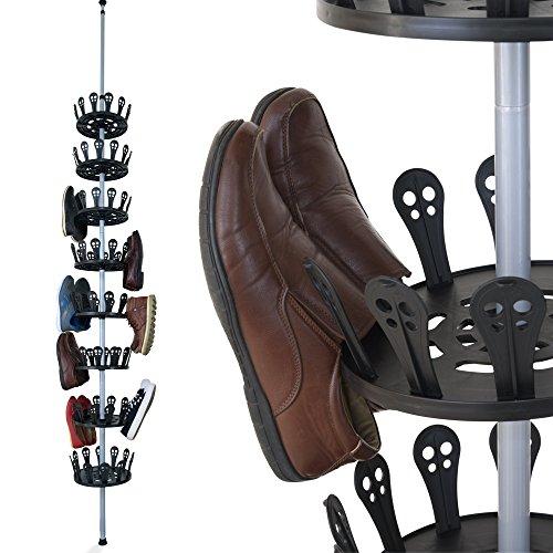 XXL Carrousel à chaussures Meuble chaussures avec tige télescopique pour 96 chaussures 48 paires