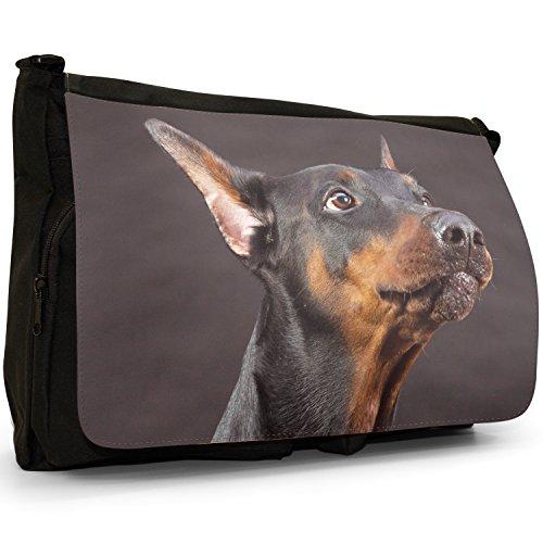 Doberman Pinscher Dog Grande borsa a tracolla Messenger Tela Nera, scuola/Borsa Per Laptop Doberman Pinscher Portrait