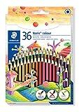 STAEDTLER 185 CD36 ST Buntstift (erhöhte Bruchfestigkeit, Sechskantform, attraktives Streifendesign, ergonomische Softoberfläche, Wopex Material, Set mit 18 brillanten Farben im Kartonetui)