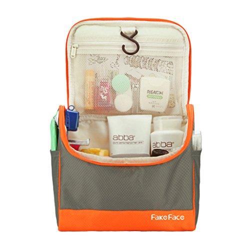 Spaziosa borsa per aufänhangen Multi Funzione portatile cosmetici borsa sacchetto Toilette cultura borsa da viaggio Bag in Bag Unisex arancione