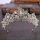Jovono Mariage couronnes et diadèmes pour adultes de mariage Doré Couronne Diadème Cristal fête Accessoires Cheveux pour femme