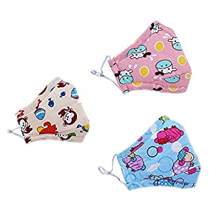 Kids Cartoon Cotton Face Mouth Gauze Mask PM 2.5 Protection 3D Cut Activated Carbon Reusable Respirator Anti Dust Fog Haze Virus Flu for Children 4-15 years old, Pack of 3, Blue Sheep+Pink Cow+Monkey