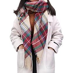 UTOVME Mujeres Bufanda Borlas Manta Abrigo Grande Largo para Invierno Primavera Fría Felpa de Tela Escocesa 150x150CM - Múltiples colores