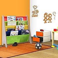 Preisvergleich für Bücherregal Kinderbücherregal Kinderregal Hängefächerregal Standregal Spielzeugregal Kinderzimmer mit 4 Fächern (Natur)